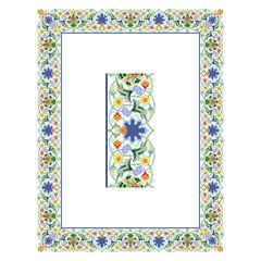Olde World Borders Vector - Tiled frame in plant leaves and flowers Framework decorated Elegant style