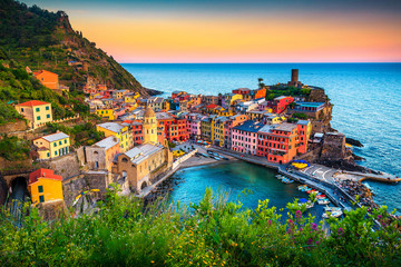 Famous touristic town of Liguria with beaches and colorful houses