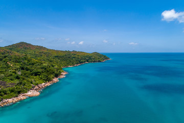 Aerial view of beautiful island at Seychelles in the Indian Ocean. Top view from drone