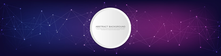 Website header or banner design with geometric abstract background of connected dots and lines. Vector illustration with plexus background and space for your text.