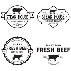 Set of premium beef labels, badges and design elements. Logo for butchery, meat shop, steak house etc.