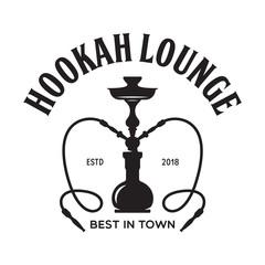 Hookah label, badge and design elements. Hookah club. Shisha bar. Hookah lounge logo. Hookah pipes.