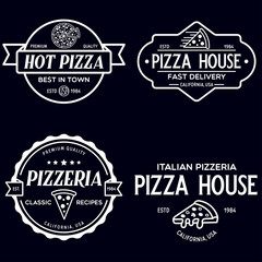Set of pizza logo, badges, banners, emblems for fast food restaurant. Collection labels for menu design restaurant or pizzeria.