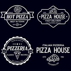 Set of pizza logo, badges, banners, emblems for fast food restaurant. Collection labels for menu design restaurant or pizzeria.