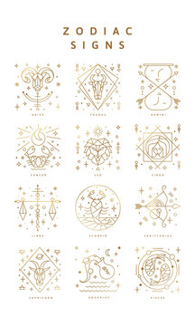 Set of zodiac signs, Icons, and Symbols. Horoscrope Signs in Vector