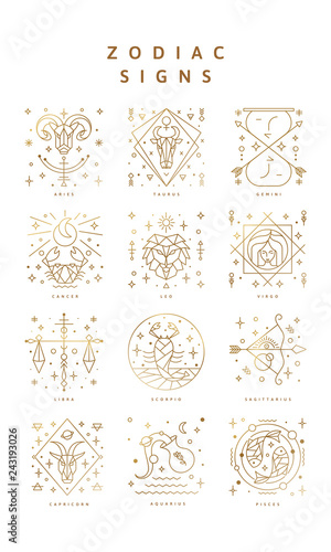 Set of zodiac signs, Icons, and Symbols  Horoscrope Signs in Vector