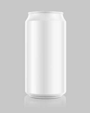 Realistic aluminum can mockups. Front view. Vector illustration. Can be used for beer, water, soda, energetic, etc. Easy to use for presentation your product, idea, design. EPS10.