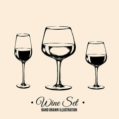 Vector illustration of wineglass in realistic hand drawn sketch style/ Vector template for business card banner poster.