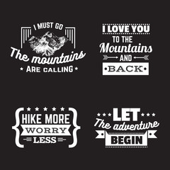 Vector collection of quote typographical background about mountains with sketch. Vintage set.  Hand drawn illustration. Template for card banner poster.