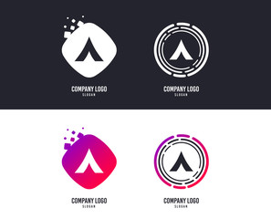 Logotype concept. Tourist tent sign icon. Camping symbol. Logo design. Colorful buttons with icons. Vector