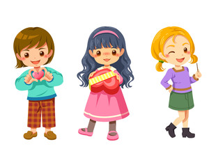 Cute young children character cartoon fashion style, vector illustration