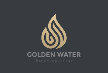 Wall Mural - Water Droplet Logo Gold Drop design vector Aqua Fire Flame