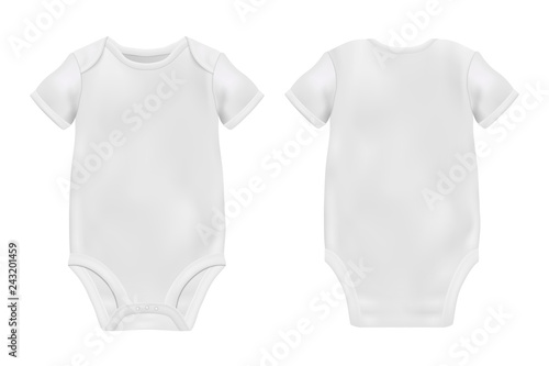 Vector Realistic White Blank Baby Bodysuit Template caa9e11af