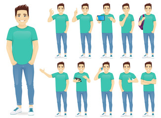 Man in casual outfit set with different gestures isolated