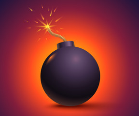 Black bomb on orange background.