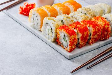 Japanese cuisine california roll and tuna roll