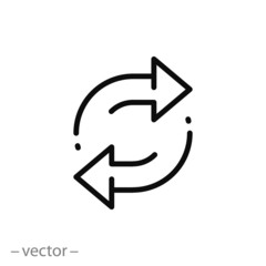 double reverse arrow, replace icon, exchange linear sign on white background - editable vector illustration eps10