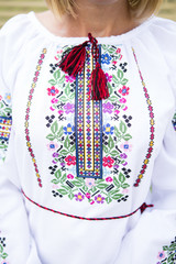 Close-up beautiful Ukrainian traditional style embroidery. Vyshivanka.