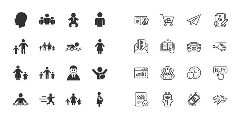 Set of People and Family icons. Swimming pool, Love and Children signs. Mother, Father and Pregnant woman symbols. Paper plane, report and shopping cart icons. Group of people. Vector