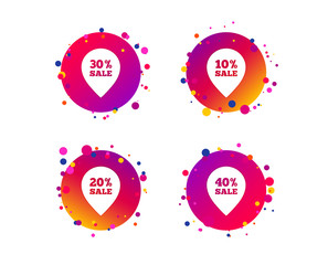 Sale pointer tag icons. Discount special offer symbols. 10%, 20%, 30% and 40% percent sale signs. Gradient circle buttons with icons. Random dots design. Vector