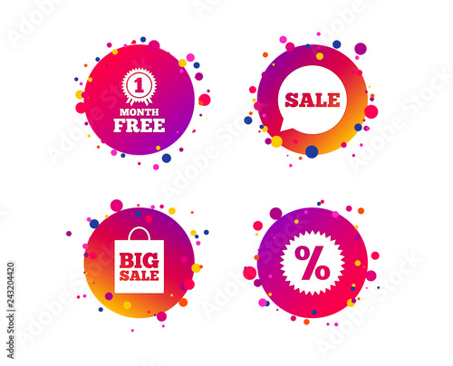 ae864b2cd1 Big sale shopping bag sign. First month free medal. Gradient circle buttons  with icons. Random dots design. Vector