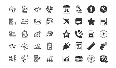 Survey or Report line icons. Set of Opinion, Customer satisfaction and Test linear icons. Checklist review, Quiz and Business report symbols. Evaluation, Feedback chart and Management. Vector