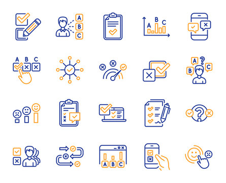 Survey or Report line icons. Opinion, Customer satisfaction feedback and Test survey icons. Checklist review, Quiz and Business report symbols. Evaluation quiz, Feedback chart, Management. Vector