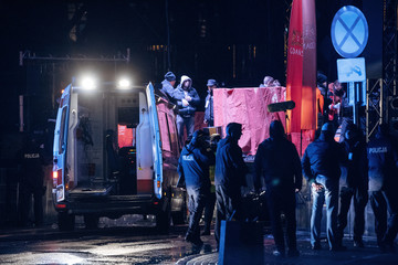 Emergency responders and police officers are seen near a scene of the 27th Grand Finale of the Great Orchestra of Christmas Charity in Gdansk
