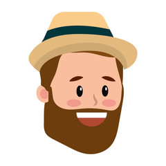 Man with beard and hat face