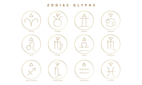 A Collection of Zodiac Glyphs, Signs and Symbols