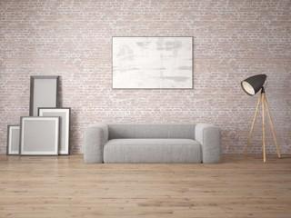 Mock up modern living room with original sofa and loft backdrop.