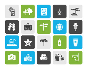 summer, vacation and beach icons - vector icon set