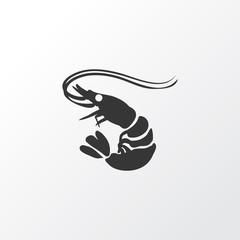 Shrimp icon symbol. Premium quality isolated prawn element in trendy style.