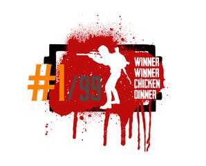 Player in PUBG, concept of games PlayerUnknown's Battlegrounds, silhouette of military man in style grunge and slogan: winner winner chicken dinner. Vector PUBG, grunge style