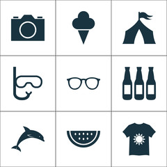 Season icons set with tent, t-shirt, ice cream and other sorbet  elements. Isolated vector illustration season icons.