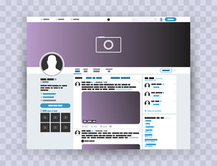 Browser interface twitter, Mocuk up website. Photo frame Post in a social network. Mock up twitter. Template account Vector EPS10