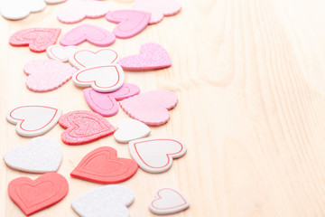 Valentines day multicolored hearts background