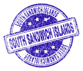 SOUTH SANDWICH ISLANDS stamp seal watermark with distress texture. Designed with rounded rectangles and circles. Blue vector rubber print of SOUTH SANDWICH ISLANDS tag with dust texture.