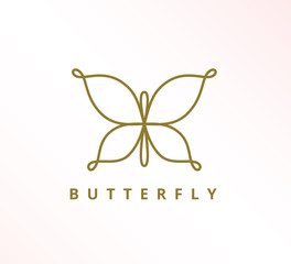 simple minimalist elegant continuous line butterfly icon vector logo design
