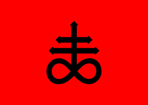 Leviathan Cross alchemical symbol for sulphur, associated with the fire and brimstone of Hell. Black icon isolated vector illustration. Blackwork, flash tattoo or print design , red background