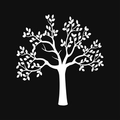 White wood silhouette against a black background. Tree icon Vector illustration
