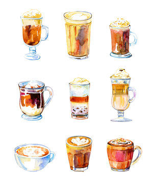 Set of nine coffee drinks. Watercolor hand drawn sketch illustration with glasses and mugs