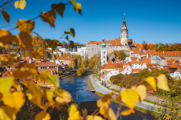 Historic town of Cesky Krumlov in fall, Bohemia, Czech Republic