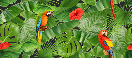 Jungle leaves and parrots, seamless pattern. 3d vector realistic background Wall mural
