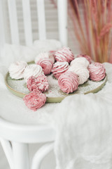 Pink and white marshmallows. Cooking