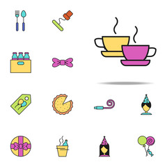 cups of tea colored icon. birthday icons universal set for web and mobile