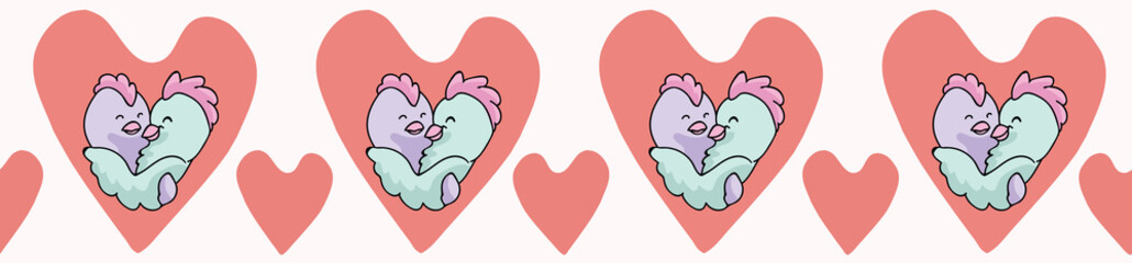 Vector chick hug hearts. Seamless repeat border. Hand drawn 2 chickens hugging inside red love heart for romantic valentines day, gay wedding anniversary celebration banner. Free pride hug concept.