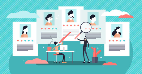Job agency vector illustration. Tiny employee headhunters persons concept.