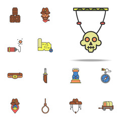 skull decoration colored icon. Wild West icons universal set for web and mobile