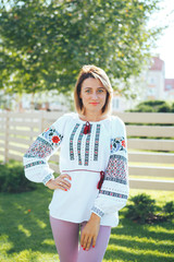 Beautiful young woman in traditional ethnic ukrainian  style
